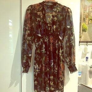 Zara high neck chiffon camisole dress